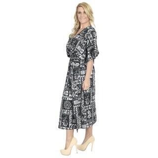 La Leela Women's Smooth Black Likre Tropical Beach Coverup Nightgown Kaftan