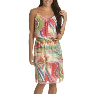 Nina Leonard Women's Multicolored Polyester Abstract Print Keyhole-back Dress