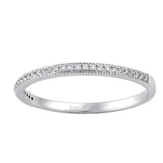 Beverly Hills Charm 14k White Gold 1/10ct TDW Diamond Stackable Anniversary Band Ring (H-I, SI2-I1)
