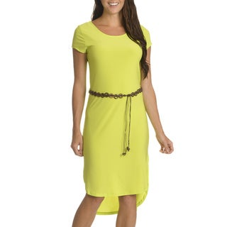 Nina Leonard Women's Green Polyester/Spandex Belted High-low Dress