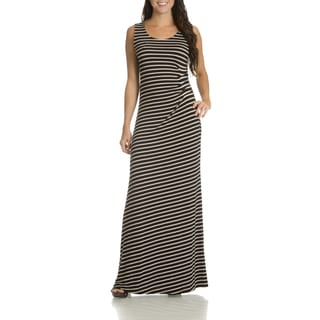 Nina Leonard Women's Stripe-side Ruched Maxi Dress