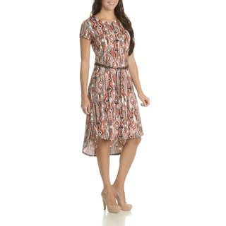 Nina Leonard Women's Abstract-print Belted High-low Dress