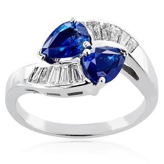18k White Gold Sapphire Diamond High-polished Ring