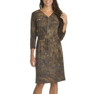 Nina Leonard Women's Abstract Print Drawstring Waist Shift Dress