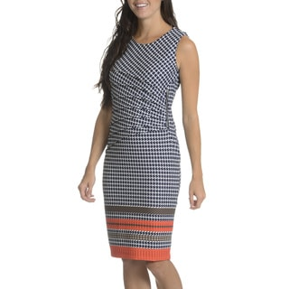 Nina Leonard Women's Houndstooth Zipper Ruched Waist Sheath Dress