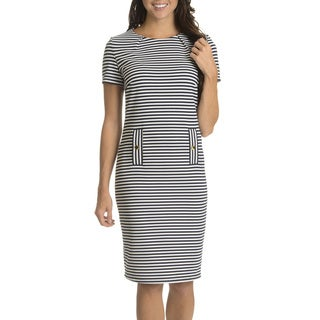 Nina Leonard Women's Textured Horizontal Stripe Short-sleeve Dress