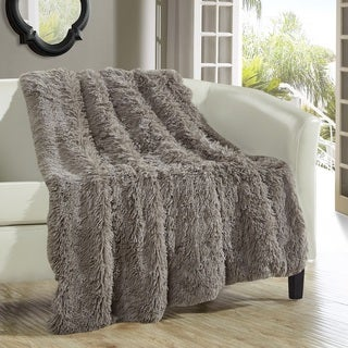 Chic Home Juneau Taupe Faux Fur Throw Blanket