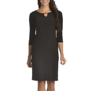 Nina Leonard Women's Keyhole with Hardware Detail 3/4 Sleeve Dress