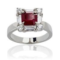 18k White Gold Ruby Diamond High-polish Ring - Red