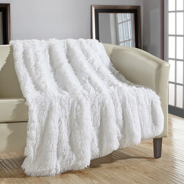 Shop Chic Home Juneau Faux Fur White Throw Blanket Free