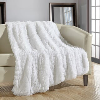 Chic Home Juneau Faux Fur White Throw Blanket. Throw Blankets For Less   Overstock com