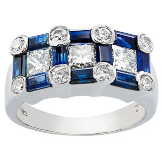 14k White Gold Sapphire Diamond High-polish Ring
