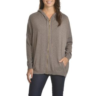 Chelsea & Theodore Women's Hooded Zip Front Sweater