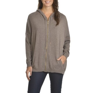 Chelsea & Theodore Women's Hooded Zip Front Sweater