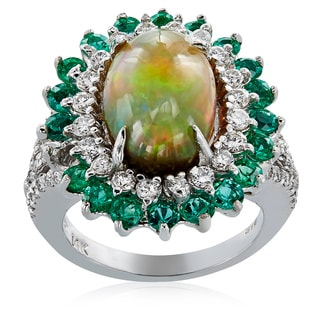 14k White Gold Opal Diamond High-polished Ring