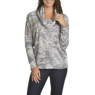 Chelsea & Theodore Women's Grey Cotton-blended Abstract Print Cowl Neck Top