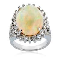14k White Gold Opal Diamond High-polished Ring