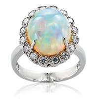 14k White Gold Opal Diamond High-polish Ring
