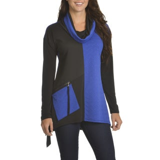 Chelsea and Theodore Women's Textured Color Block Cowl Neck Top