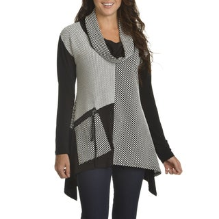 Chelsea & Theodore Women's Textured Polka Dot Cowl-neck Top