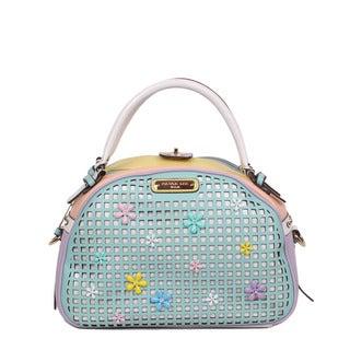 Nicole Lee 'Selina' Pastel Mint Floral Bowler Handbag