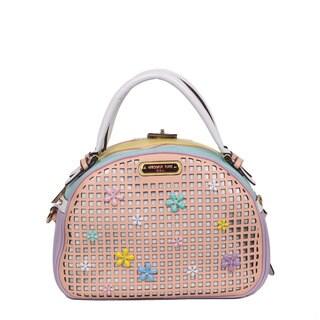 Nicole Lee Selina Pastel Peach Floral Bowler Handbag