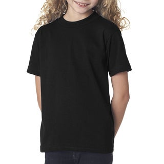 Girls' Cotton Black Short Sleeve T-shirt