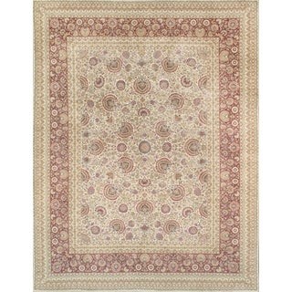 Pasargad Majestic Tabriz Hand-knotted Ivory/ Red Wool Rug (9' x 12')
