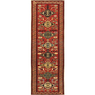 Pasargad Kazak Hand-knotted Red-ivory Lamb's Wool Runner Rug (2' 6 x 7')