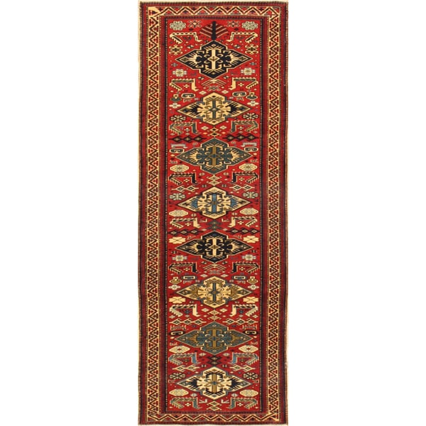 Pasargad Kazak Hand-knotted Red-ivory Lamb's Wool Runner Rug (2' 6 x 7') - 2' 6 x 7'