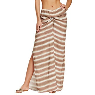 Vix Cleo Brown Striped Maxi Cover-up Skirt