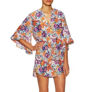 Vix Tide Tita Floral Cotton Silk Caftan Cover-up Dress