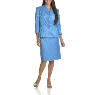 Danillo Women's 2-piece Blue Polyester Floral-pattern Skirt Suit