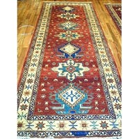 Pasargad Kazak Hand-knotted Rust-ivory Lamb's Wool Runner Rug - 3' 2 x 10'