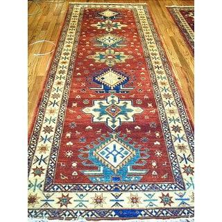 Pasargad Kazak Hand-knotted Rust-ivory Lamb's Wool Runner Rug (3' 3 x 10')