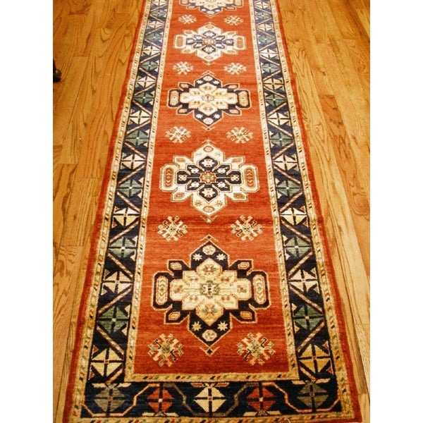 Shop Pasargad Kazak Hand Knotted Rust Navy Lamb S Wool
