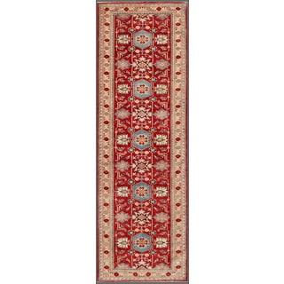 Pasargad Kazak Hand-knotted Rust-ivory Lamb's Wool Runner Rug (3' 1 x  10')
