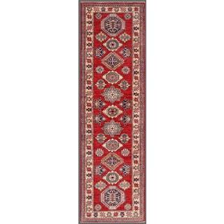Pasargad Kazak Hand-knotted Rust-ivory Lamb's Wool Runner Rug (2' 6 x 9')