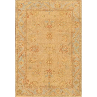 Pasargad Turkish Oushak Hand-knotted Camel-l.blue Wool Rug (8' x 11')