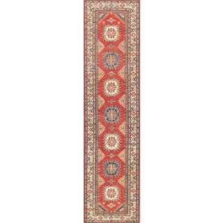 Pasargad Kazak Hand-knotted Red-ivory Lamb's Wool Runner Rug (2' 8 x 11')