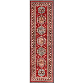 Pasargad Kazak Hand-knotted Rust-ivory Lamb's Wool Runner Rug (2' 2 x 8')