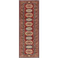 Pasargad Kazak Hand-knotted 'rust-ivory' Lamb's Wool Runner Rug (2' 6 x  7')