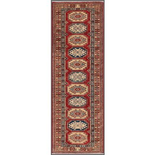 Pasargad Kazak Hand-knotted 'rust-ivory' Lamb's Wool Runner Rug (2' 6 x 7')