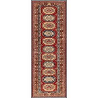 Pasargad Kazak Hand-knotted Rust-ivory Lamb's Wool Runner Rug (2' 6 x  7')