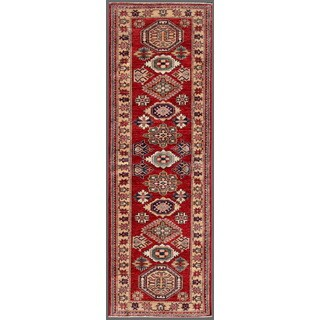 Pasargad Kazak Hand-knotted Rust-ivory Lamb's Wool Runner Rug (2' 4 x  7')