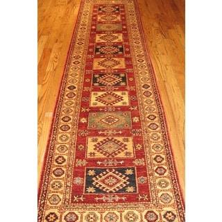Pasargad Kazak Hand-knotted Rust-beige Lamb's Wool Runner Rug (2' 6 x 10')