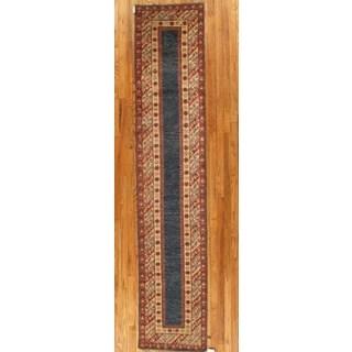Pasargad Kazak Hand-knotted Blue-rust Lamb's Wool Runner Rug (2' 9 x 14')