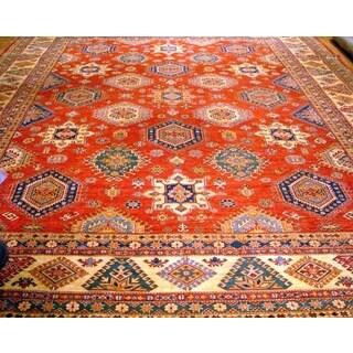 Pasargad Kazak Geometric Hand-knotted Rust-beige Lamb's Wool Area Rug (12' x 15')