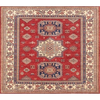 Pasargad Kazak Hand-knotted Red-ivory Lamb's Wool Area Rug (5' x 6')