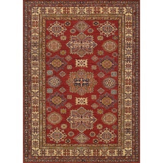 Pasargad Kazak Hand-knotted Red-ivory Lamb's Wool Area Rug (6' x 9') - 6' x 9'